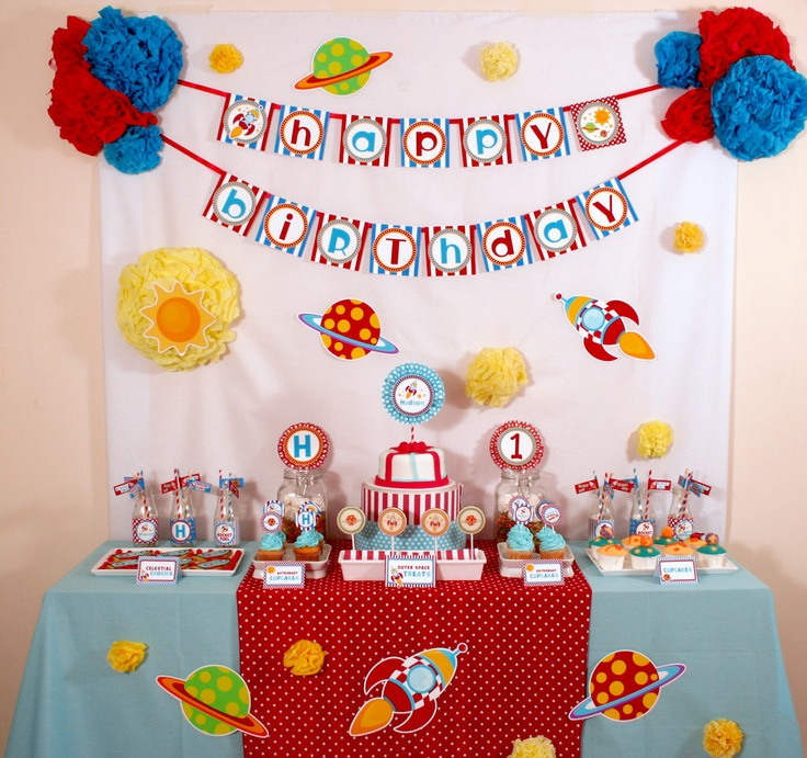 Rocket Space Birthday Party Package Personalized FULL Collection Set - PRINTABLE DIY - PS828x. $35.00, via Etsy.