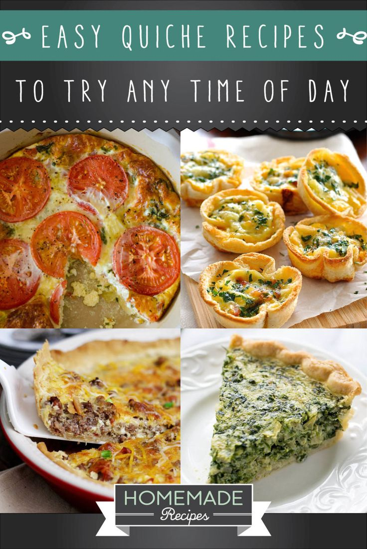 15 Easy Quiche Recipes To Try Any Time Of The Day   http://homemaderecipes.com/15-easy-quiche-recipes/