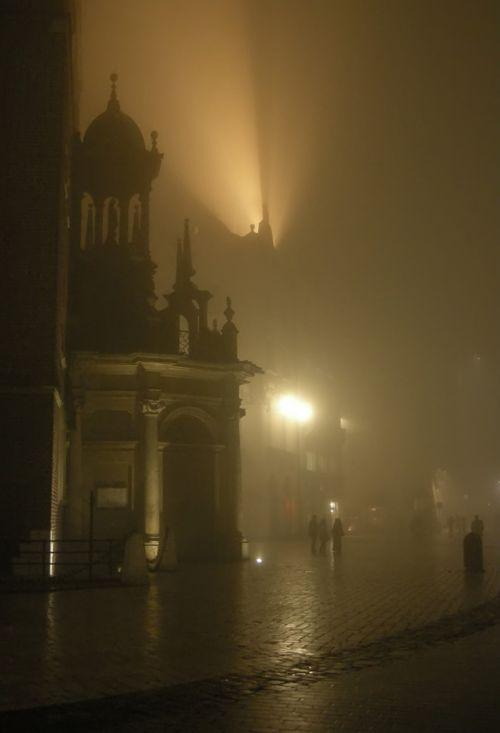Krakow. Cracow. Poland. Ghost. Raindrops. Rynek Główny