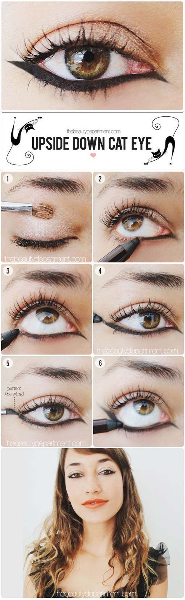 Winged Eyeliner Tutorials - Tutorial, Upside Down Cat Eye- Easy Step By Step Tutorials For Beginners and Hacks Using Tape and a Spoon, Liquid Liner, Thing Pencil Tricks and Awesome Guides for Hooded Eyes - Short Video Tutorial for Perfect Simple Dramatic Looks - thegoddess.com/winged-eyeliner-tutorials #easyhairstylesforbeginners #makeuplooksstepbystep #wingedlinersimple