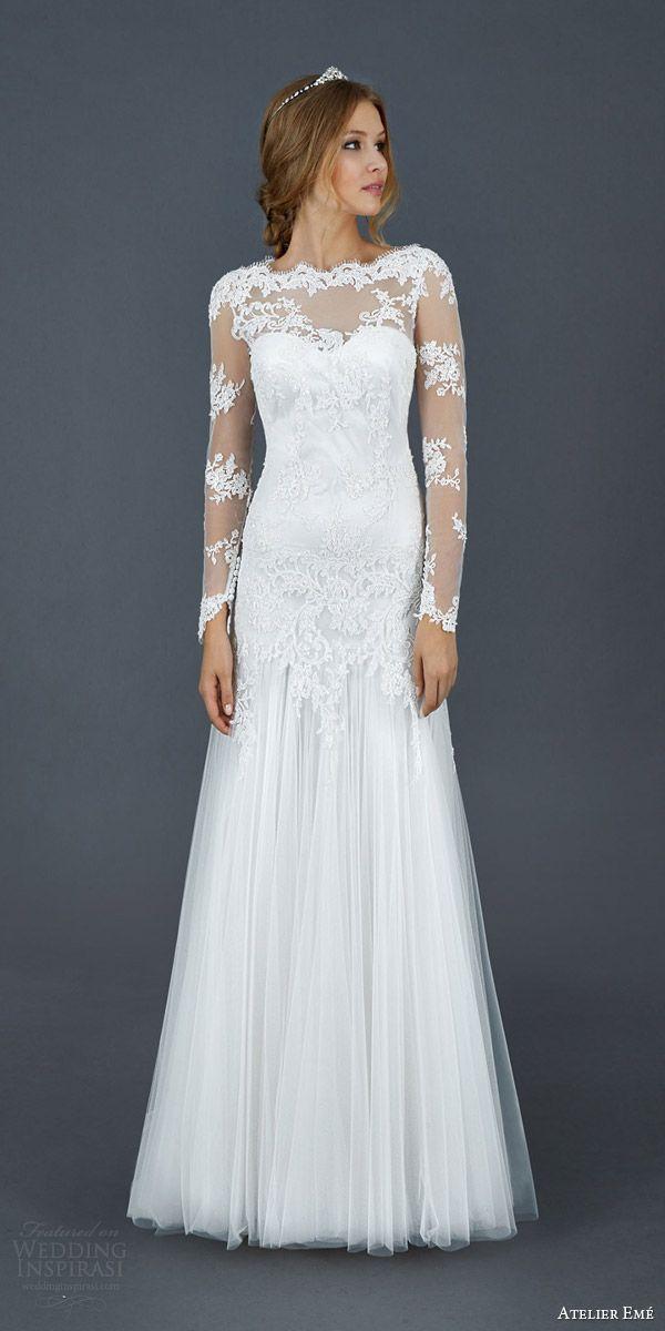 atelier eme 2016 roseto illusion long sleeve scallope lace neckline wedding dress