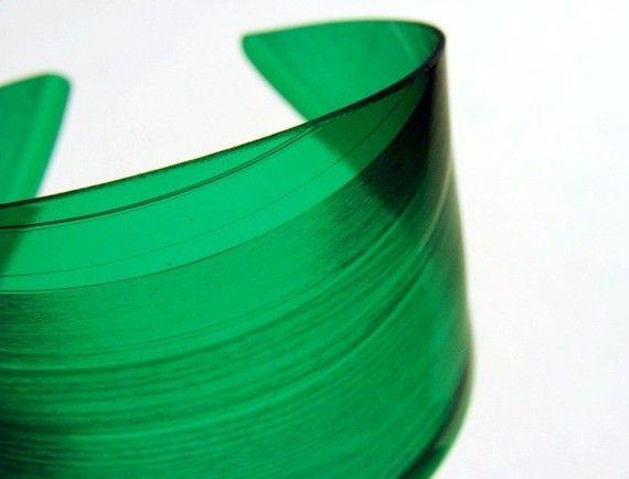 Color Block Green Vinyl Record Cuff Bracelet by EyePopArt on Etsy
