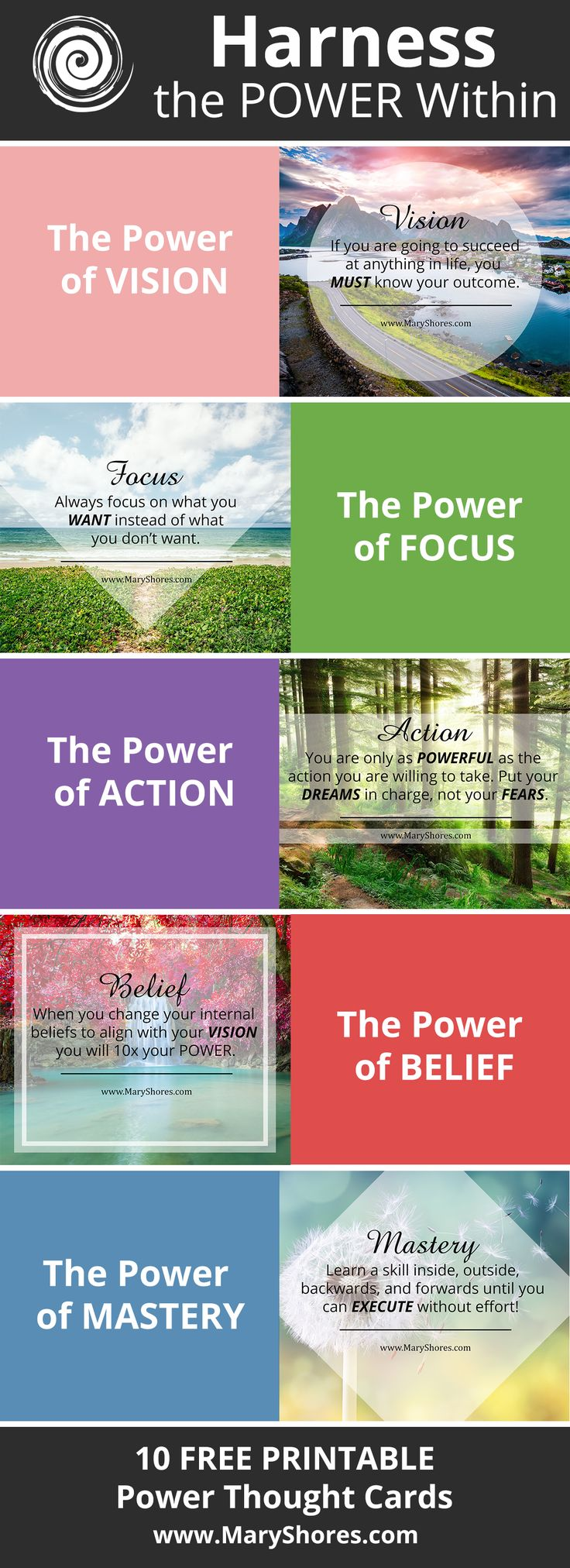 [FREE PRINTABLE] Harness the Power Within - Power Thought Cards - Sign Up to Download - Mary Shores - Hay House Author