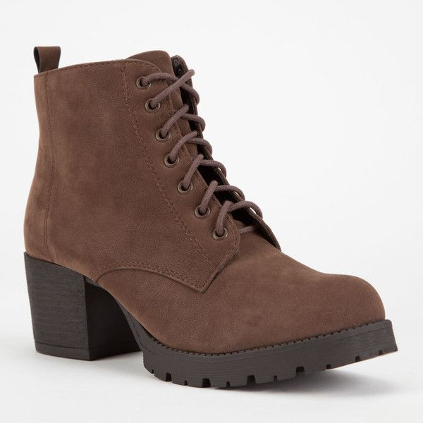Soda Nevitt Womens Military Boots (£24) ❤ liked on Polyvore featuring shoes, boots, ankle boots, brown, short brown boots, chunky heel combat boots, chunky heel boots and chunky heel ankle boots
