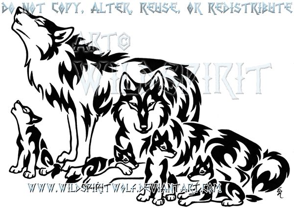 Tribal Wolf Family Design by WildSpiritWolf.deviantart.com on @deviantART