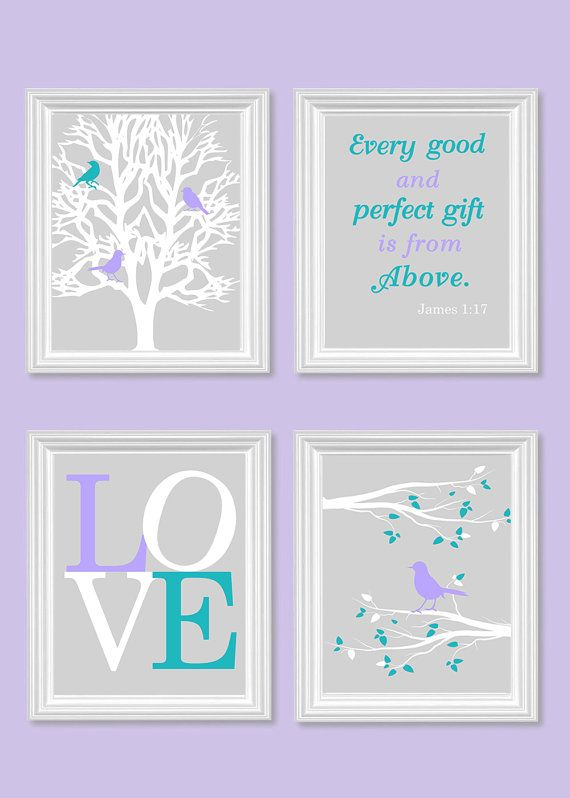 Bird Nursery Art, Gray Turquoise Purple, Every Good and Perfect Gift Quote, Bible Verse, Love, Lilac, Lavender, Toddler, Set of 4, Canvas