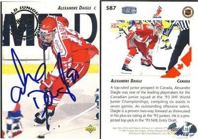 Alexandre Daigle Team Canada Signed 1992-1993 UD Junior Champ Card # 587 SL COA . $10.00. Team Canada CenterAlexandre DaigleHand Signed 1992-1993 Upper DeckWorld Junior Championships Card # 587.GREAT AUTHENTIC HOCKEY COLLECTIBLE!!AUTOGRAPH AUTHENTICATED BY SPORTS LOT AUTHENTICATIONS WITH NUMBERED SPORTS LOT AUTHENTICATION STICKER ON ITEM. SPORTS LOT COA: # 6120ITEM PICTURED IS ACTUAL ITEM BUYER WILL RECEIVE.