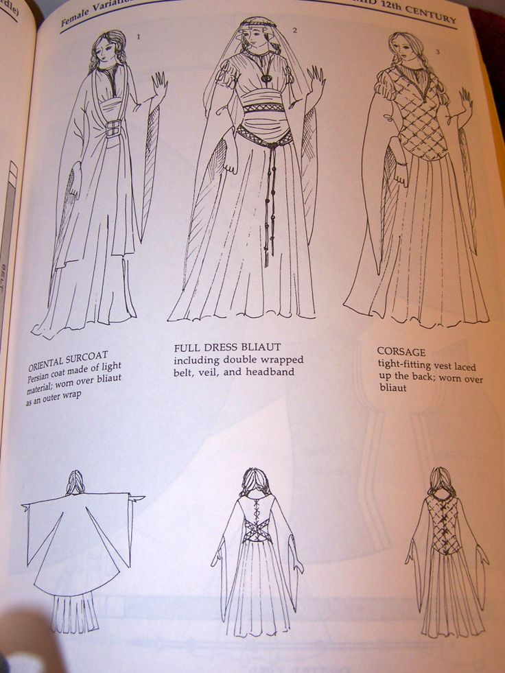 Patterns for Theatrical Costumes, Mid 12th century. I think I had versions of some of these drawing in one of my favorite coloring books as a kid...