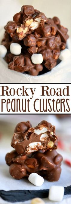 Rocky Road Peanut Clusters are made in the microwave and use only FIVE ingredients. A simple, delicious, easy candy recipe that everyone will enjoy!