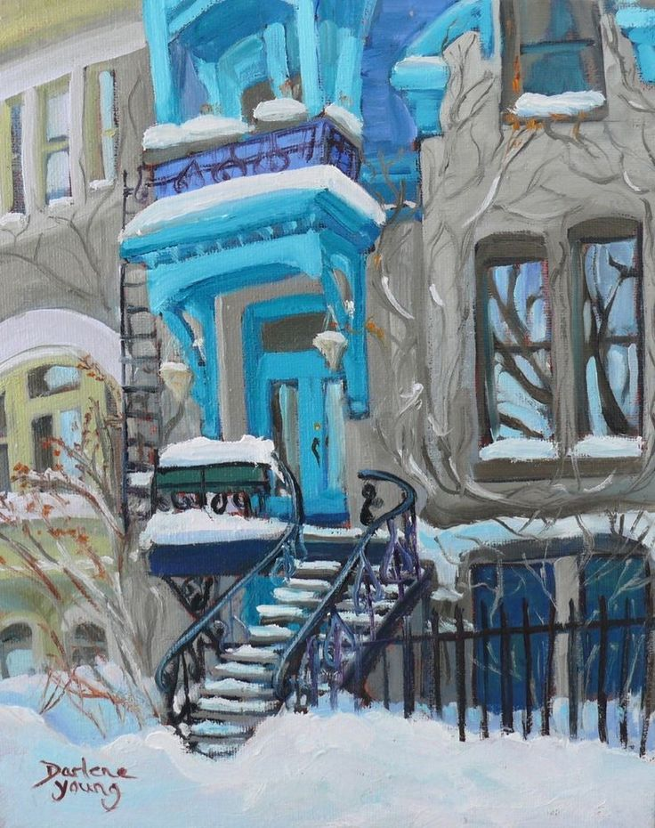 Montreal Winter, The Turquoise House, 8x10, Oil, Darlene Young Canadian Artist #Impressionism