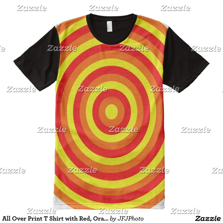 All Over Print T Shirt with Red, Orange and Yellow