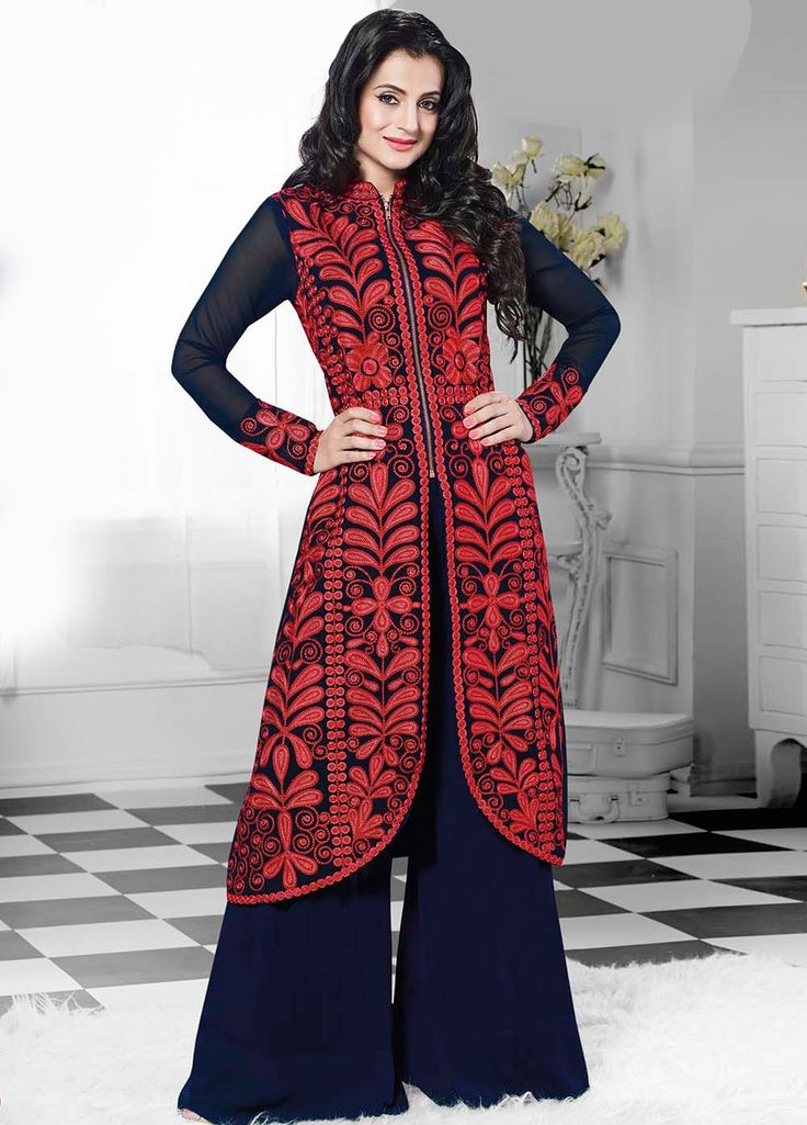 Charming and lovely Amisha Patel Georgette Straight cut Suit with Dupatta KMST-2076