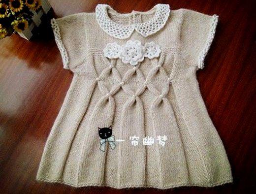 Платье с воротничком для девочки. Схема вязания спицами, текстовое руководство Распечатать схему/Print >>>...