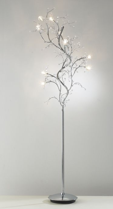 Modern Tree Floor Lamp In Chrome With Crystal Decoration