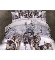 Parure Housses de Couette Imprimée Loups 3D dans le Forêt Neige