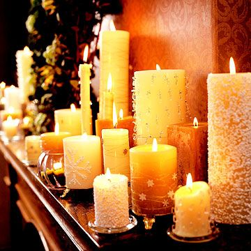 Candle DisplayCandles Lights,  Tapered, Beautiful Christmas, Christmas Pillars, Christmas Fireplaces, Christmas Candles, Christmas Ideas,  Wax Lights, Christmas Mantels