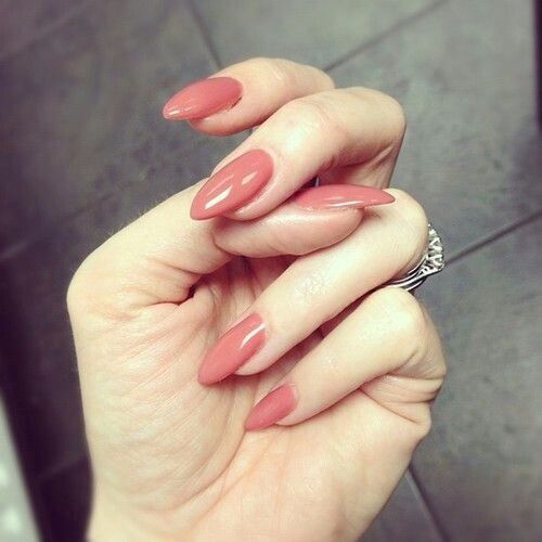 Almond nails in a dark nude.