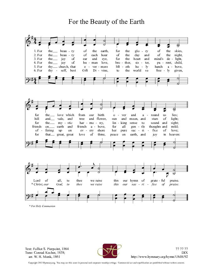 The United Methodist Hymnal 92. For the beauty of the earth - Hymnary.org