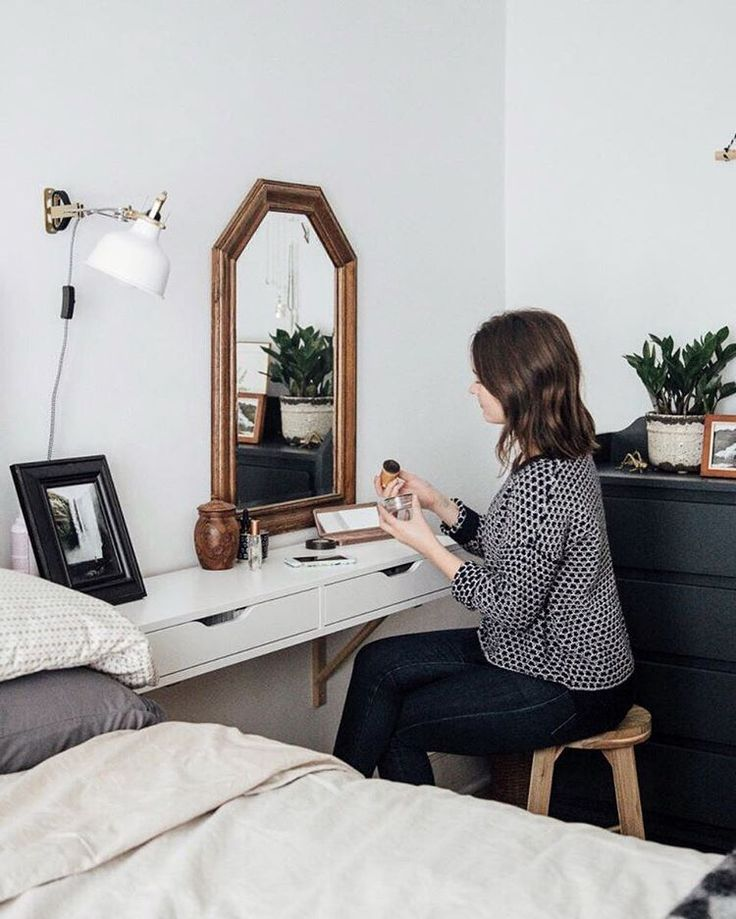 Wall-mounted Ikea 'Alex' drawers as desk                                                                                                                                                                                 More