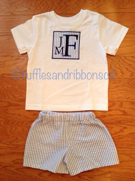 Boys monogrammed seersucker shirt and shorts on Etsy, $30.00
