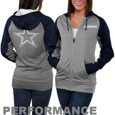 Nike Dallas Cowboys Ladies Die-Hard Full Zip Performance Hoodie - Ash/Navy Blue