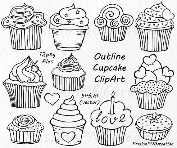 Outline Cupcake Clipart, Doodle Cupcakes Clip art, Hand drawn cupcake clip art, PNG, EPS, vector clipart, For Personal and Commercial use