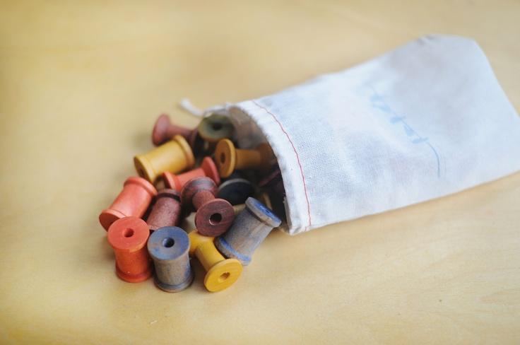 Sorting & Stacking Spools Waldorf Inspired Montessori Wooden Educational Toddler Toy