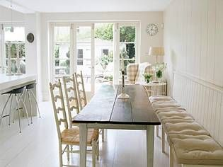 For a narrow room! love the bench seating against the wall.  I think the may be what I will actually do in a kitchen! Shouldn't be that much to do. Love it!!