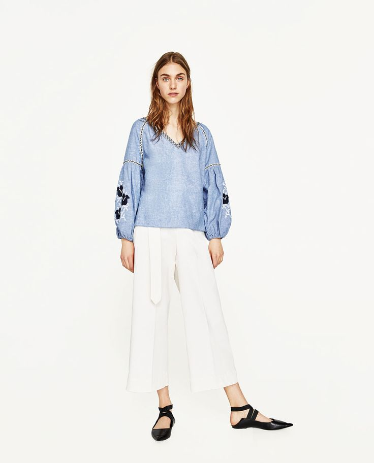 PLAIN EMBROIDERED BLOUSE-View All-TOPS-WOMAN | ZARA United States