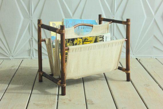 Rattan Canvas Bamboo Magazine Rack Holder with Handle Mid Century 60's 50's  Retro Boho Modern Basket Woven Cane