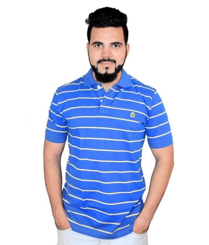 Benetton Blue & White Cotton T-Shirt