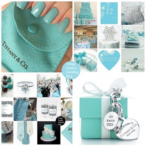 Tiffany blue winter theme with coordinating nail color.
