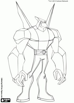 Diamondhead From Ben 10 Omniverse Coloring Page Printable Game