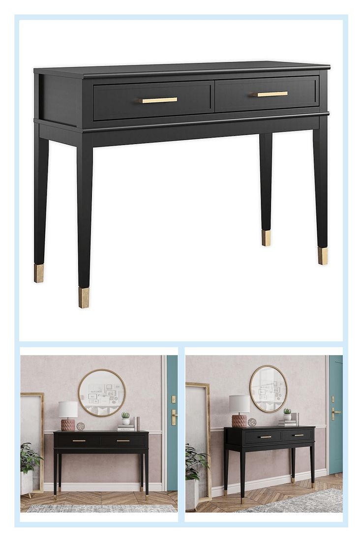 Hafley Two Drawer Console Table Smoke Green Project 62 Console Table Project 62 Storage Spaces