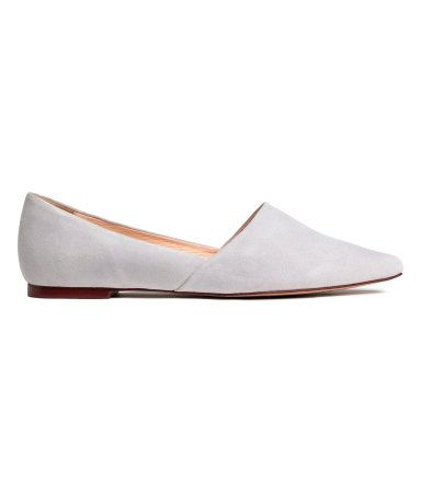 Light gray. PREMIUM QUALITY. Suede flats with pointed toes. Leather lining, leather insoles, and rubber soles.