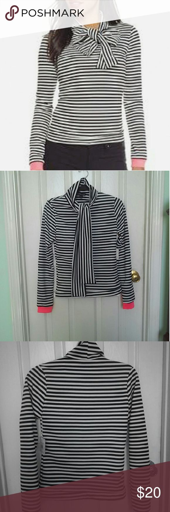 NWT | Natt Taylor | black and white shirt NWT Black and white striped shirt Tie-neck allows for many different ways to wear this! <3 From award-winning Atlanta-based designer Natt Taylor  Long sleeved with pink cuffs Size M Tops Blouses
