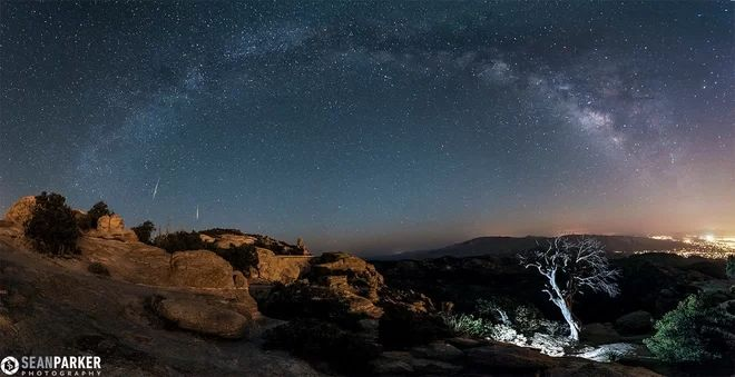 Lyrid Meteor Shower Over Tucson, Ariz. >>>>  Astrophotographer Sean Parker captured this 12-photo panorama showing two Lyrid meteors over the Catalina Mountains just outside Tucson, Ariz., on April 21, 2013.