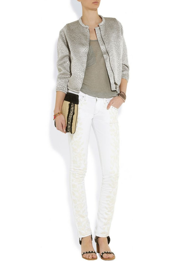 Isabel Marant Galix Embroidered Low-rise Skinny Jeans | My Style | Pinterest | Isabel Marant ...