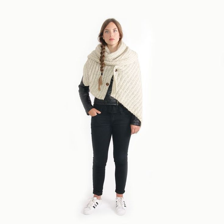 Zusss Sjaal XL gebreide col/omslag 50x210cm, zand /Zusss Scarf XL knitted col/cover 50x210cm, sand