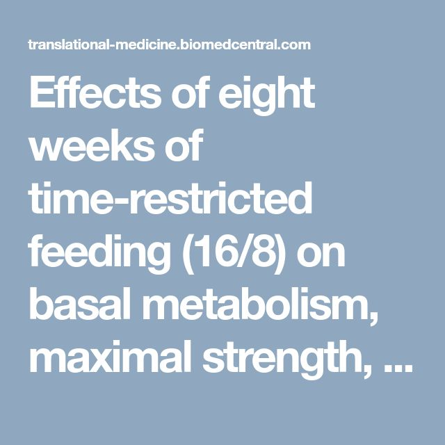 Effects of eight weeks of time-restricted feeding (16/8) on basal metabolism, maximal strength, body composition, inflammation, and cardiovascular risk factors in resistance-trained males | Journal of Translational Medicine | Full Text