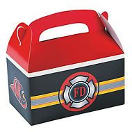 FIREFIGHTER PARTY Fire Department Treat Box / Favour Box Pack of 6 Free Postage