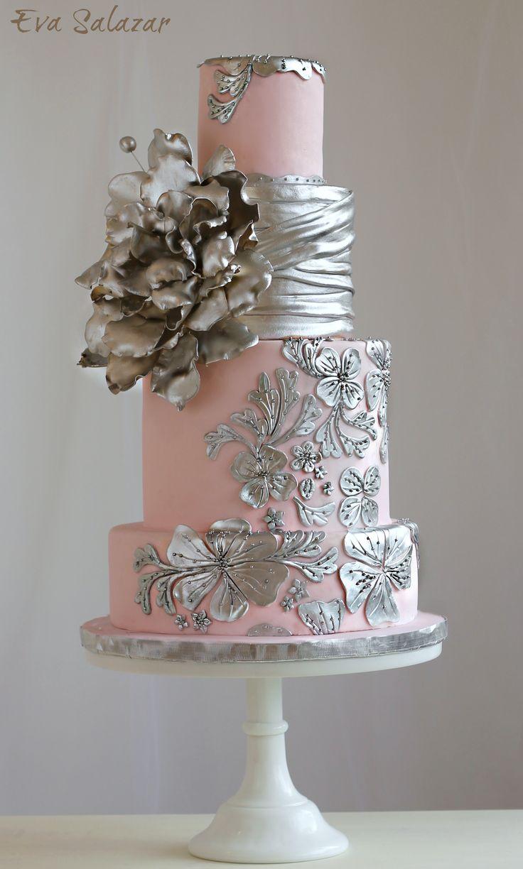 Blush And Silver Wedding Cake Lacey Cakes Pinterest Beautiful Wedding