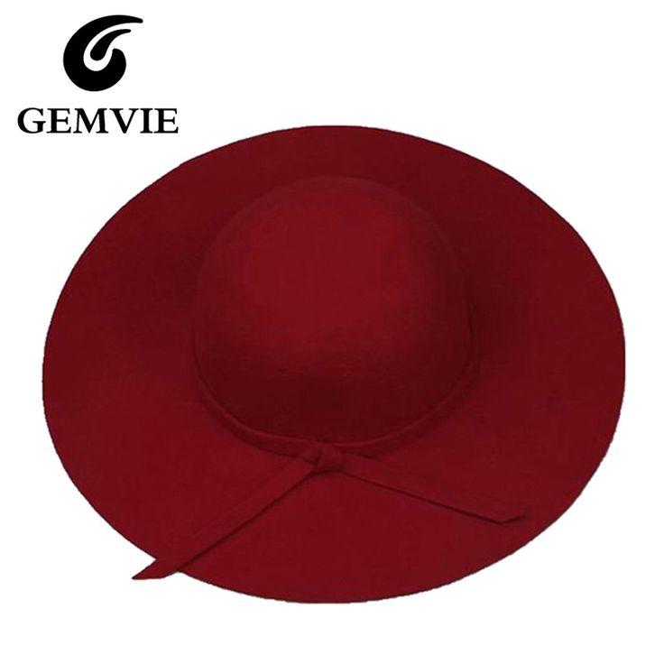 100% Sombreros de Fieltro de Lana de Cachemira Pura de Las Mujeres Sólido Grande Ancho Brim mujeres Patrón de Sombrero Fedora Vintage Floppy Cap Femenina regalos de año nuevo