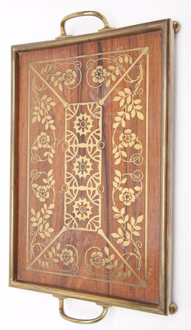 ERHARD & SÖHNE, Germany, Viennese Secessionist serving tray, brass with inlaid wood, 15 x 9 x 1.5 in. high