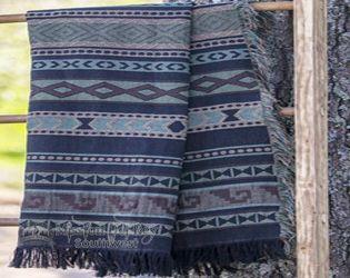 Woven Southwestern Throw Blanket -Zapoteca Blue (st43)