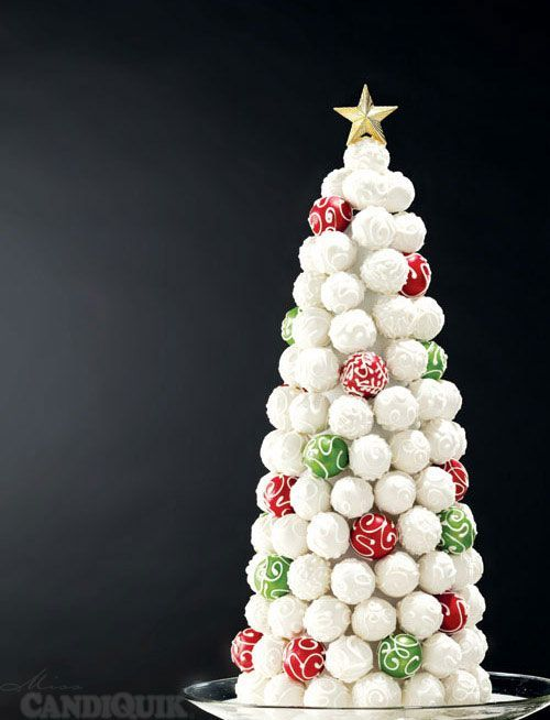 Cake Pop Christmas Tree - made completely out of cake pops - tutorial from Miss CandiQuik.