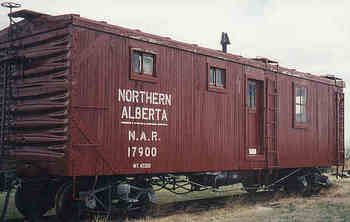 17900 Engineering Car, Built around 1914, NAR Engineering Car 17900 served on the work train as the road car and field office for the civil engineer responsible for the right-of-way. The history of the car is unknown, but it was probably built as a box car for either the Grand Trunk or the Canadian Northern Railway and converted to work service when steel box cars were purchased.
