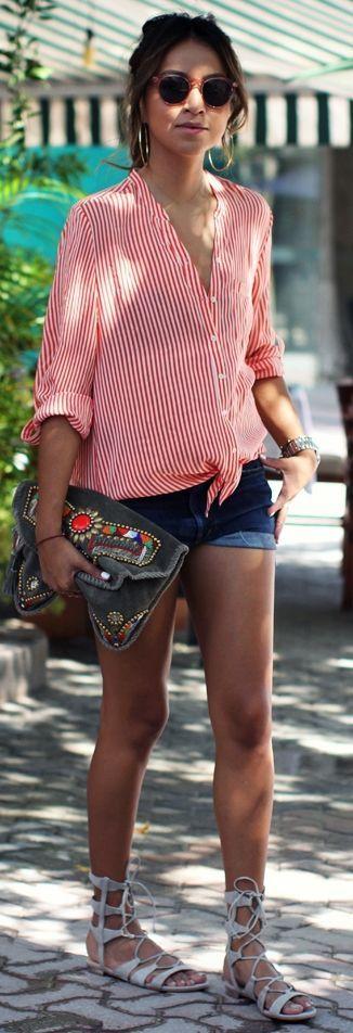 Stripes + Cutoffs + Lace-up sandals + Ponytail