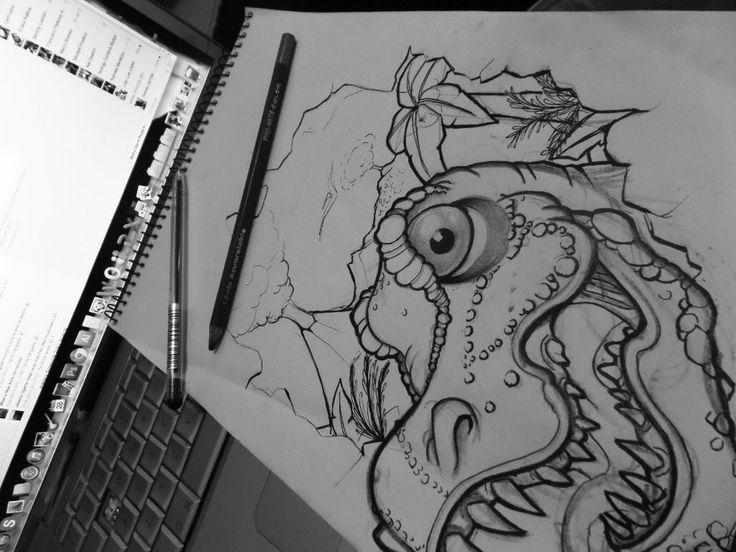 Dinosaurio dibujo, T-rex sketch, drawing