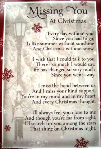 Missing You at Christmas poem.                                                                                                                                                                                 More